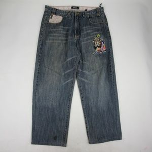 LRG Bootcut Jeans Size 36 Medium Wash Embroidered